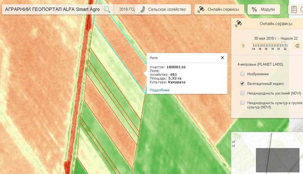 Космический мониторинг показывает, что вегетационные индексы на поле растут. Интересно, что на снимке от 30 мая два участка на Smart Field выглядят «красными» ― это кукуруза и подсолнечник.
