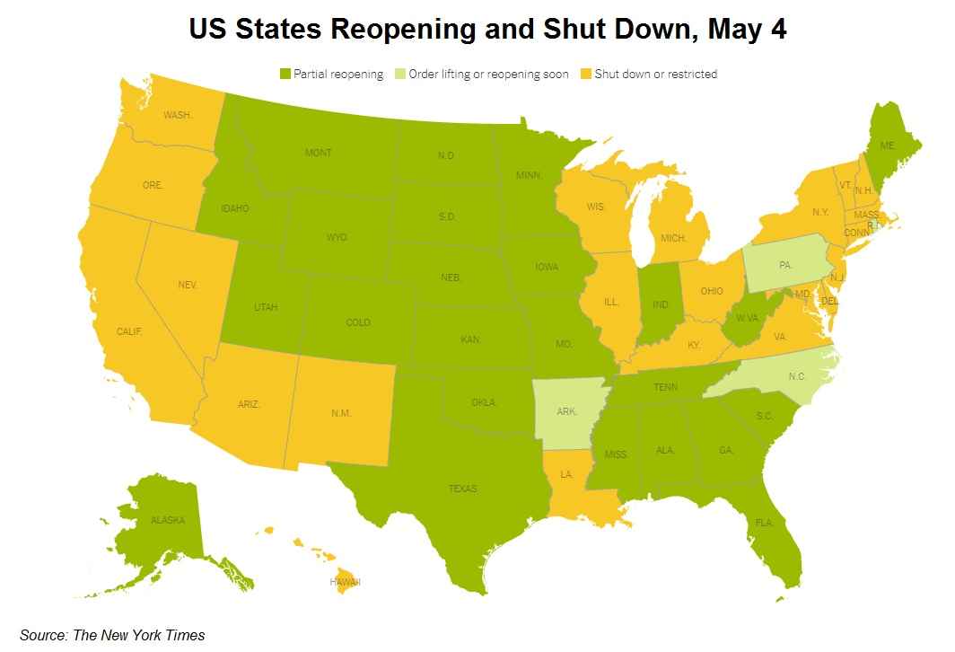 Reopening and shut down US states as of May 4