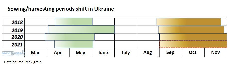 Sowing/harvesting periods shift in Ukraine in 2018-2021