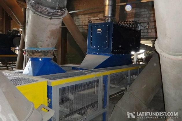 Сантрейд, ООО «Просянский элеватор» - система обеспыливания насыпного лотка ленточного конвейера с помощью локального фильтра ZEO-FG-1200