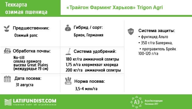 Техкарта озимой пшеницы предприятия «Трайгон Фарминг Харьков»