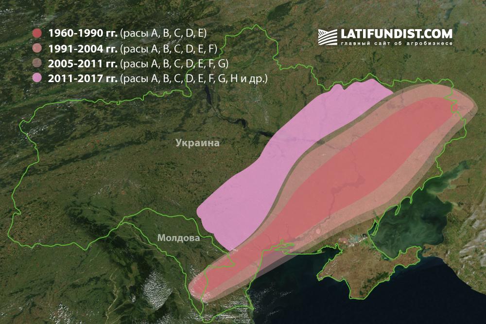Распространение заразихи в Украине