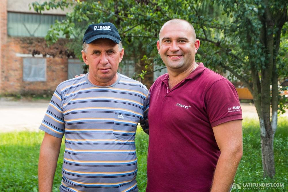 Юрий Семироз, злавный агроном «Зернятко» и Вячеслав Полоз, региональный менеджер компании BASF по Черниговской области