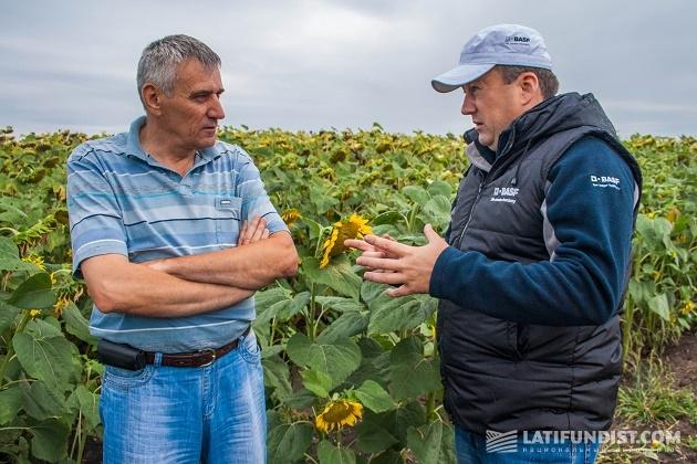 Николай Сагайдак, главный агроном Черкасского кластера «Барышевской зерновой компании» и Николай Ищенко, эксперт BASF