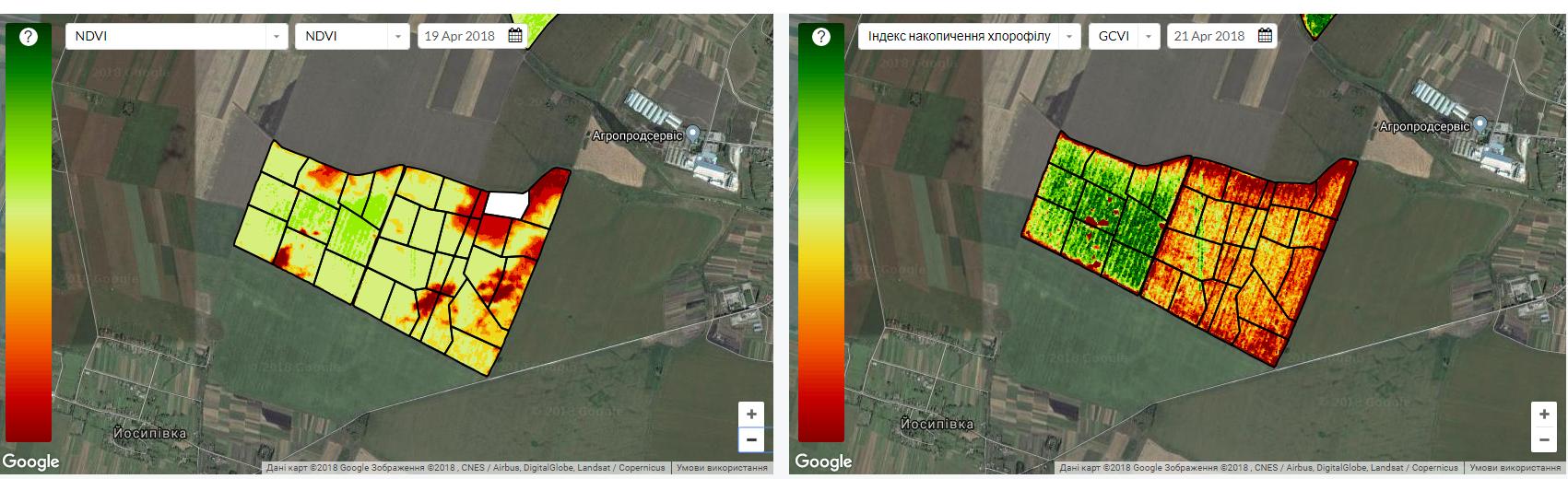 Рисунок 2. Спутниковый мониторинг по индексам NDVI и активности хлорофилла