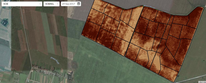 Рисунок 1. Снимки поля сделаны посредством спутникового мониторинга полей