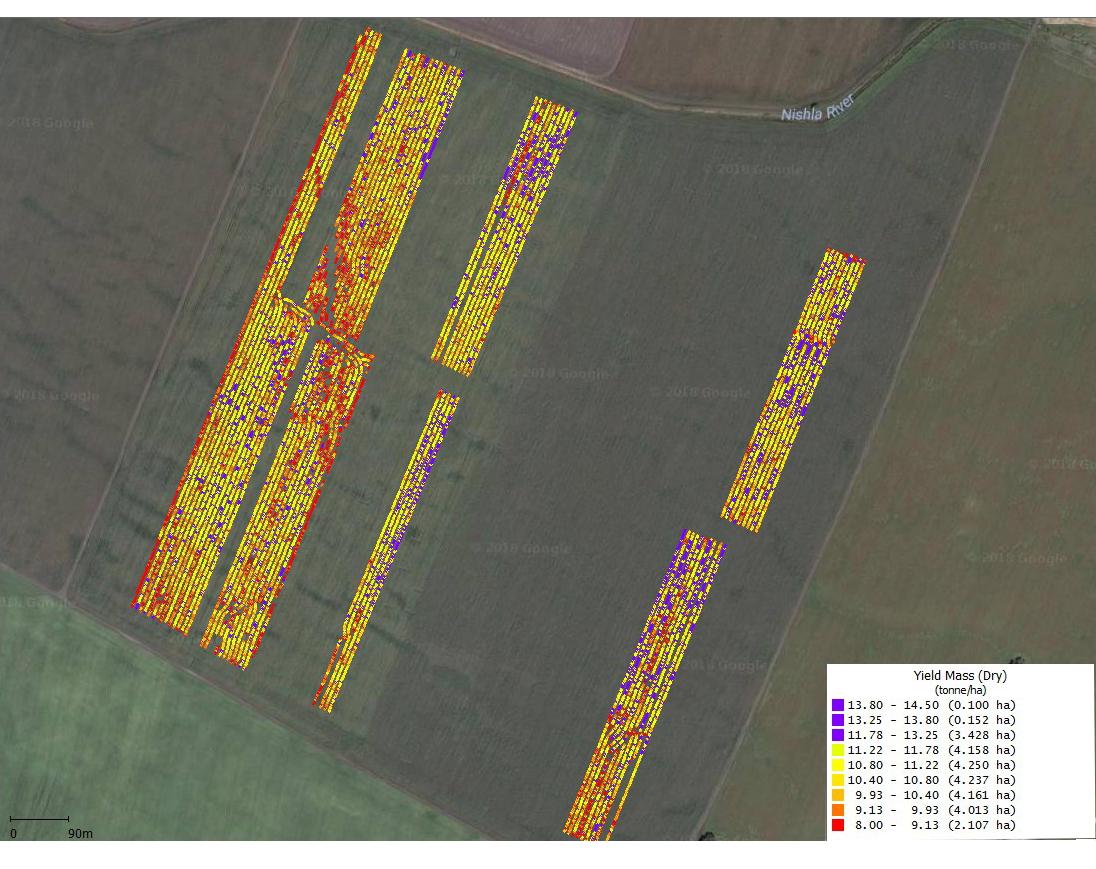 Рисунок 4. Карта урожайности поля