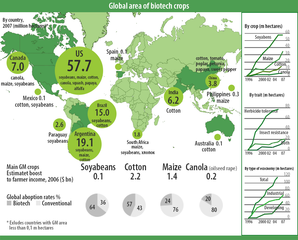 Global area of biotech crops