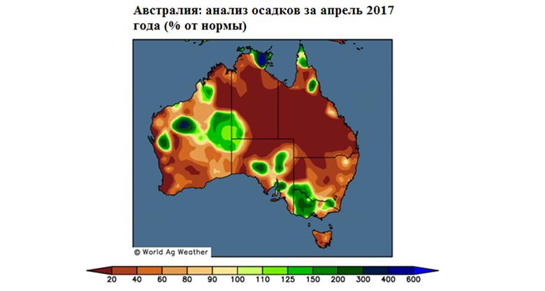Анализ осадков в Австралии за апрель 2017 года