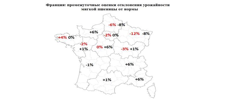 Франция: оценки отклонения урожайности мягкой пшеницы от нормы