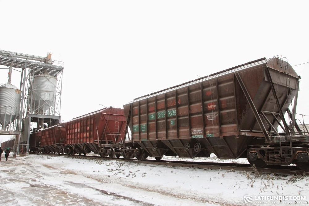 Погрузка зерна в вагоны-зерновозы