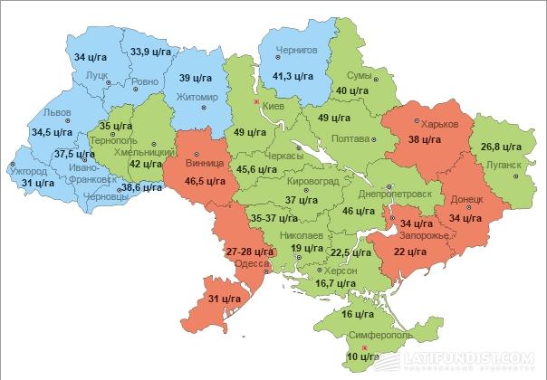 Детальная карта прогноза урожайности озимой пшеницы по областям