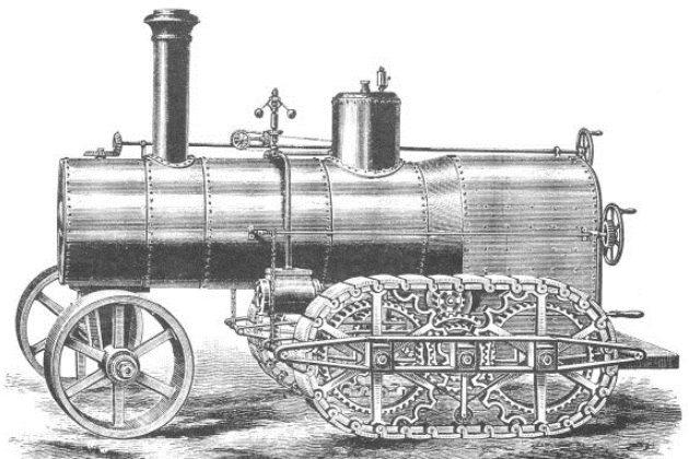 Полугусеничный паровой трактор Страттона