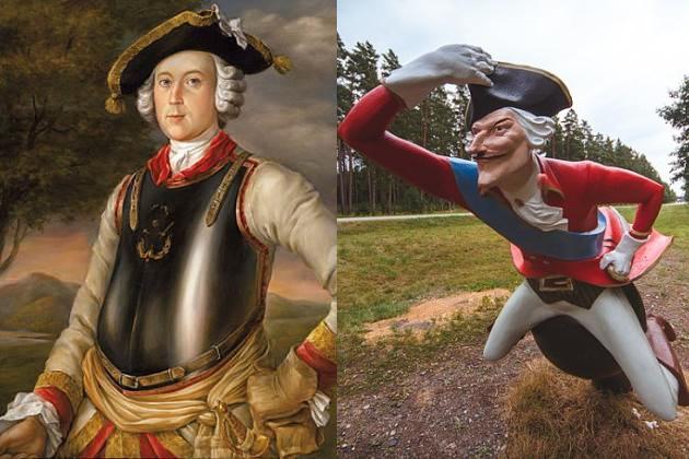 Карл Фридрих Иероним барон фон Мюнхгаузен. Прижизненный портрет и современный памятник