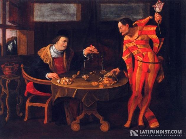 Торговля луковицами тюльпана в период тюльпаномании. Картина неизвестного художника голландской школы, 1650