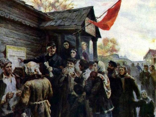 В. Иванов. Первые декреты Советской власти в деревне (фрагмент)