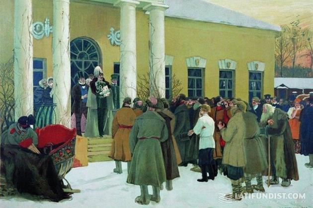 Борис Кустодиев. «Освобождение крестьян (Чтение манифеста)». 1907 год