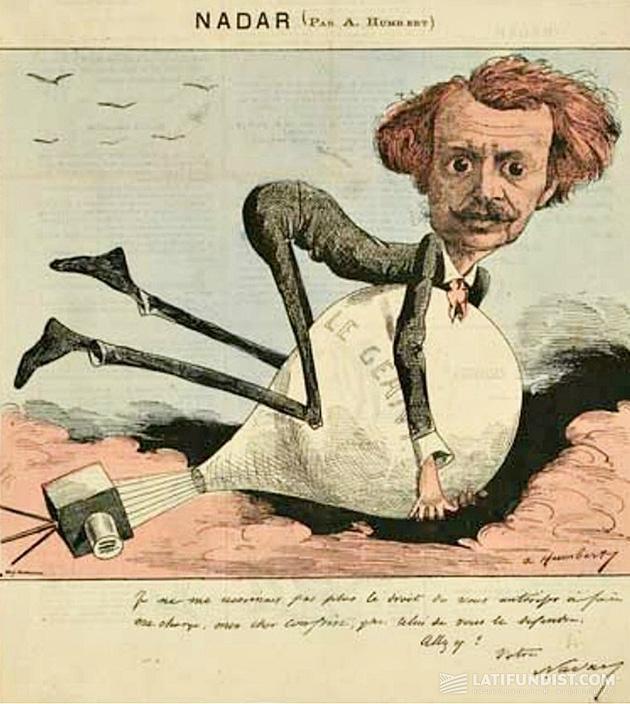 Карикатура Альберта Гумберта на Надара и его метод аэрофотосъемки