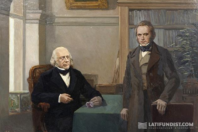 В. М. Евстафьев. Ч. Дарвин с Джоном Генсло.