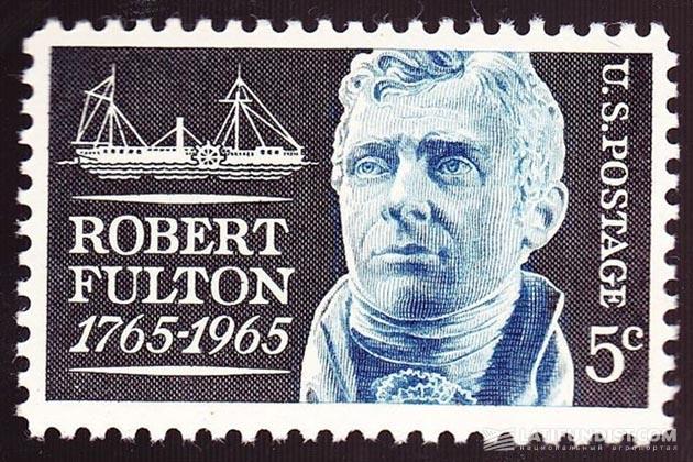 Марка в честь 200-летия со дня рождения Роберта Фултона