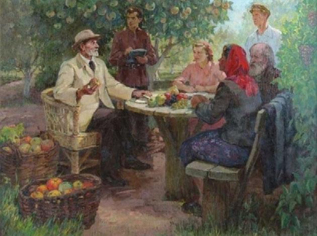 П. И. Котов. Мичурин со студентами