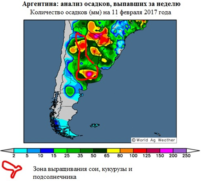 Аргентина, анализ осадков, выпавших за неделю