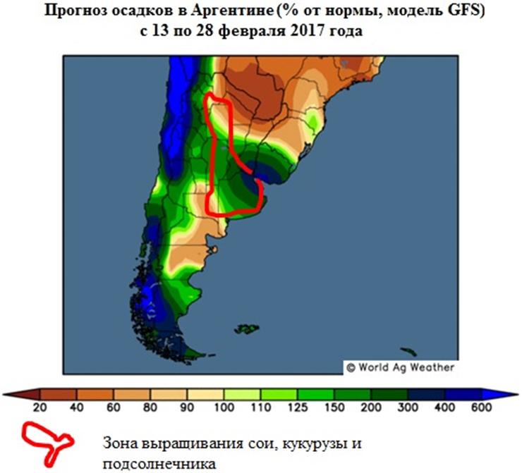 Прогноз осадков в Аргентине