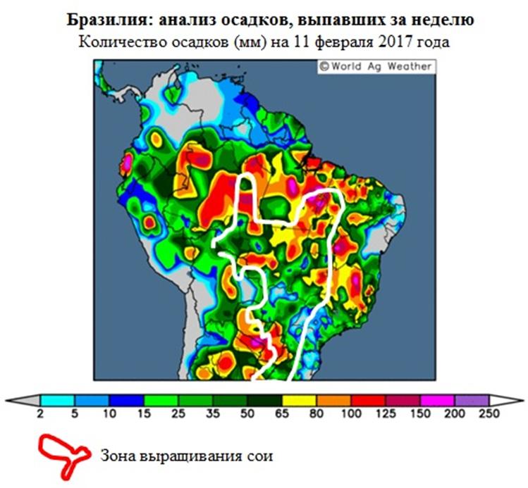 Бразилия, анализ осадков выпавших за неделю