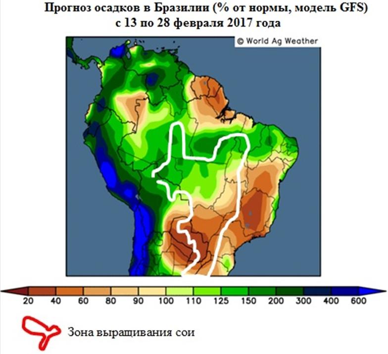 Прогноз осадков в Бразилии