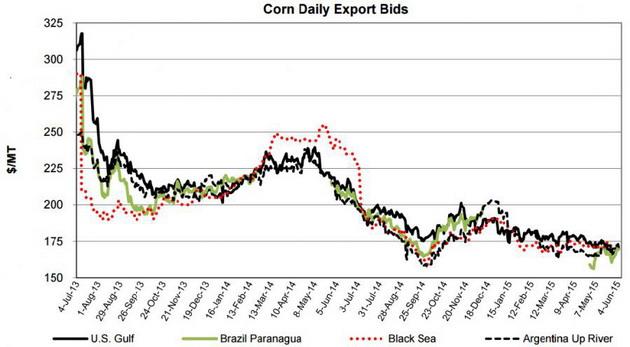 Ежедневные экспортные цены на кукурузу