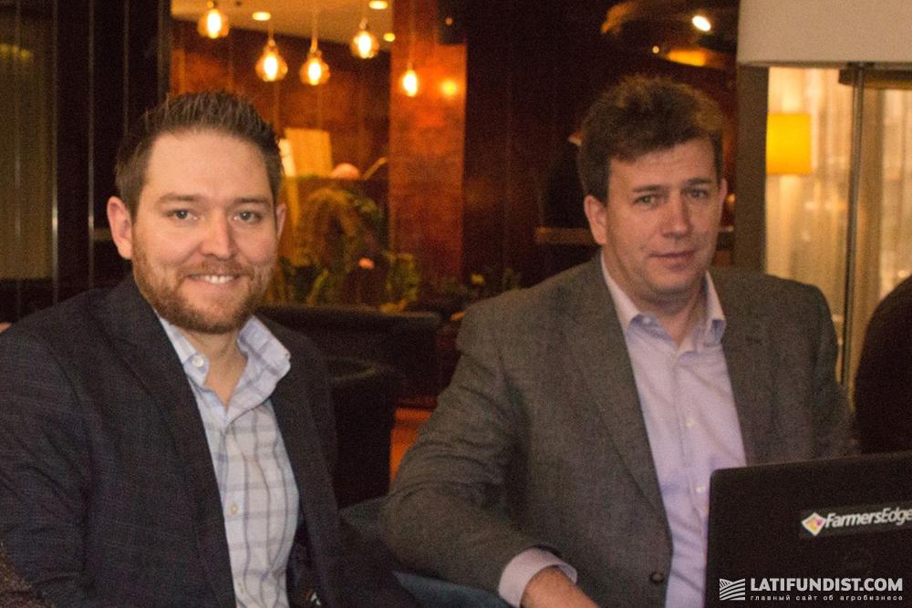 Колби Никол (слева) и Сергей Шерстюк, генеральный менеджер Farmers Edge в Восточной Европе (справа)