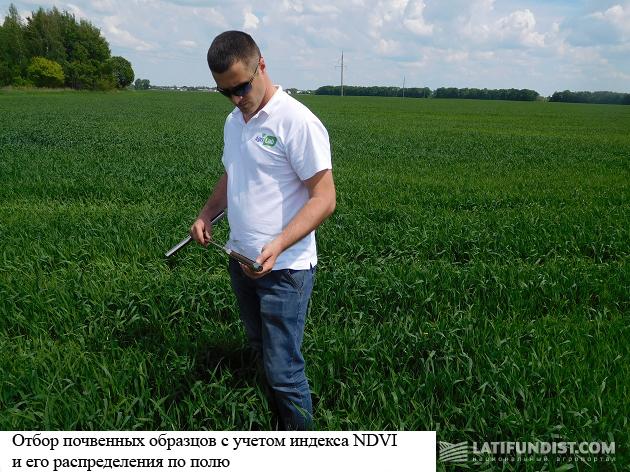 Отбор почвенных образцов с учетом индекса NDVI и его распределения по полю