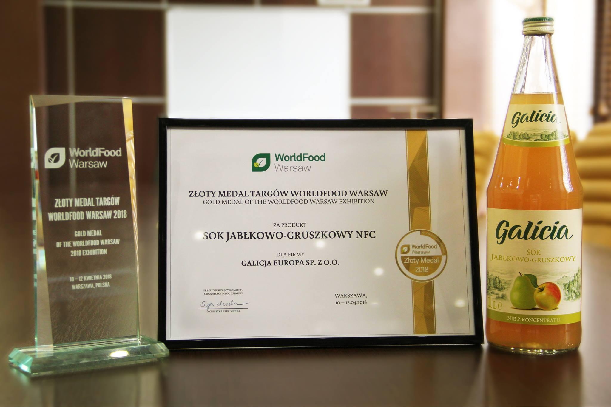 ТМ Galicia завоевала золотую медаль на выставке WorldFood Warsaw 2018