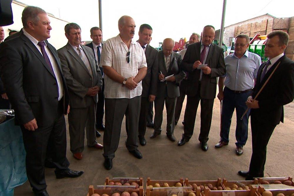 Президент Александр Лукашенко во время посещения «Цнянских экопродуктов»