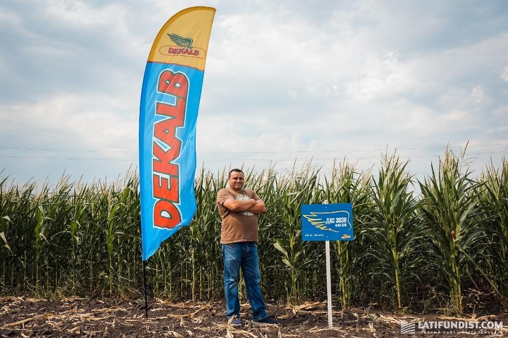 Юрий Коваленко на фоне посевов кукурузы гибридов DEKALB агрохолдинга «Билагро»