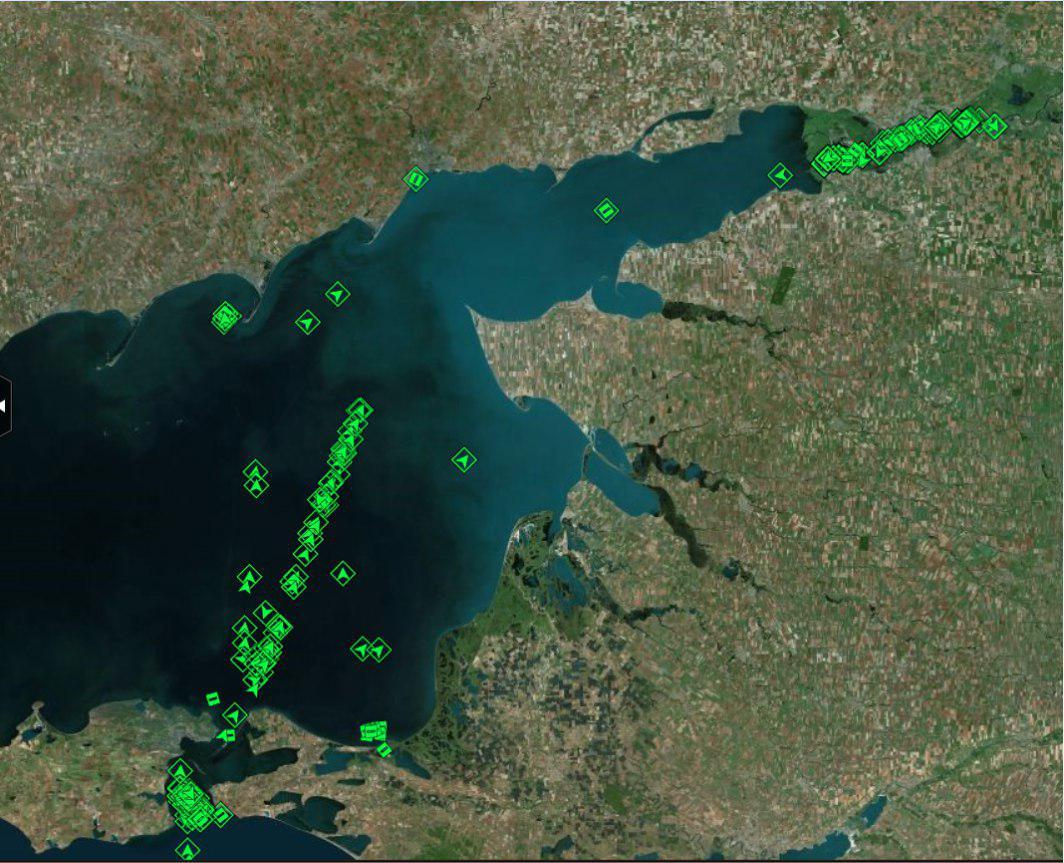 Скопление судов в Азовском море, 27 ноября 2019 г.