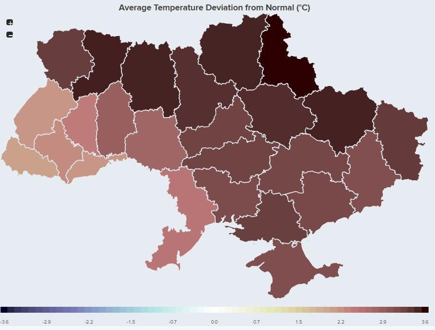 Average temperature deviation from normal (°C)