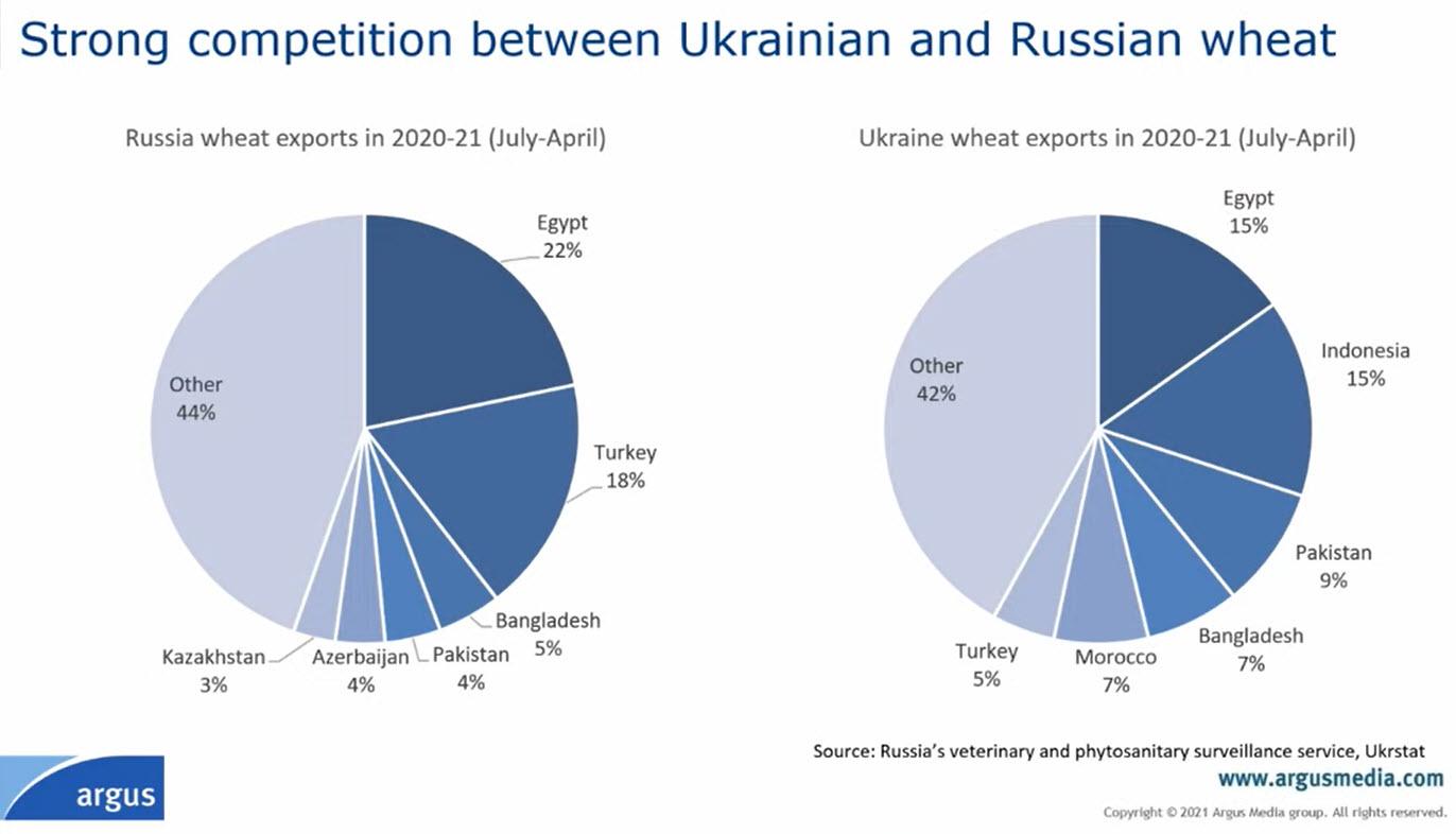 Экспорт пшеницы из России и Украины