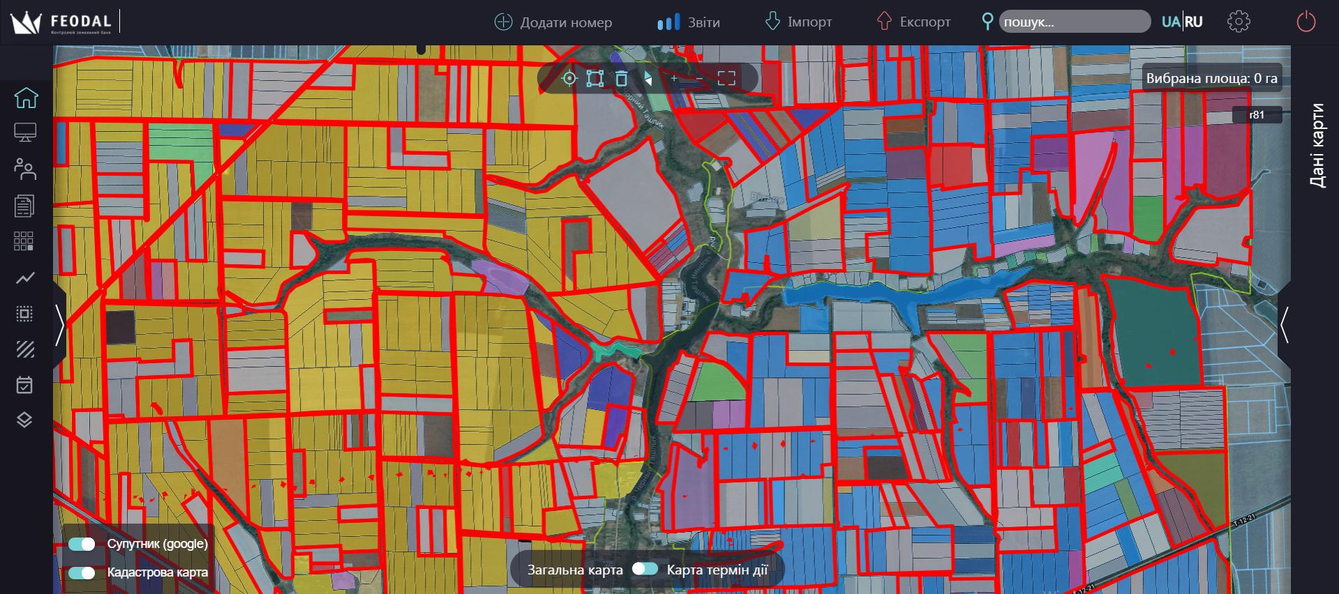 Карта пользователей земельных участков Feodal
