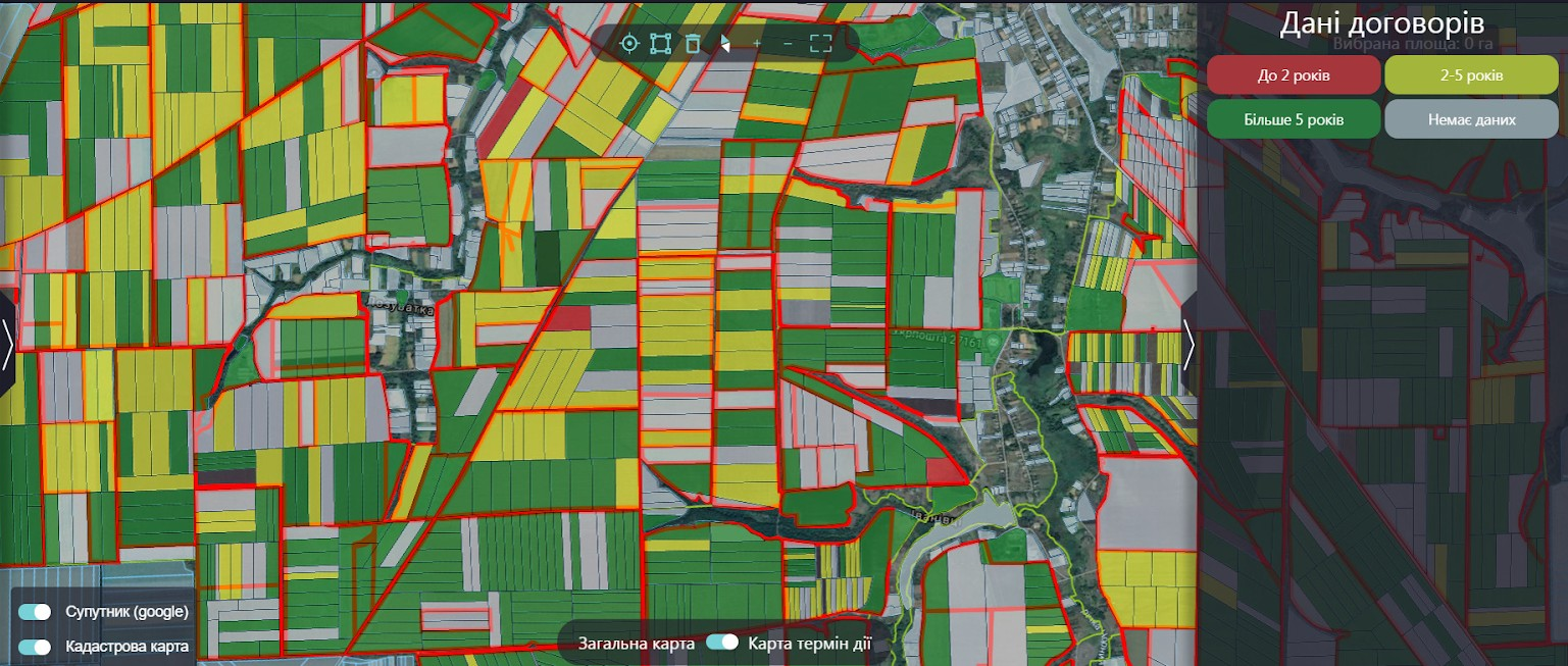 Карта сроков действия договоров оренды Feodal.Land