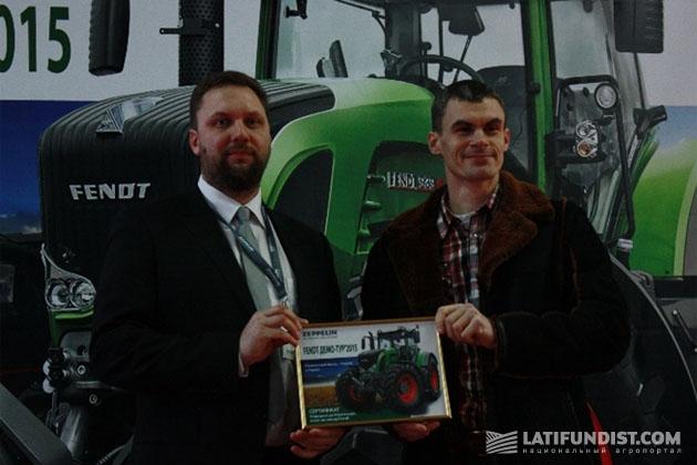Слева-направо: руководитель департамента сельскохозяйственной техники компании «Цеппелин Украина» Сергей Степаненко и Евгений Плахотний