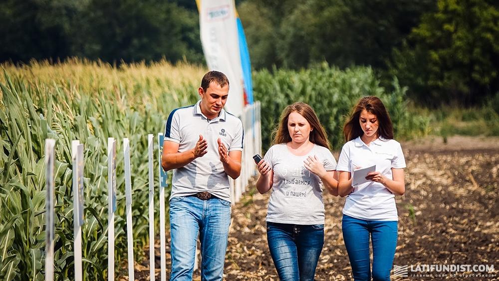 Роман Кордубан рассказывает журналистам о состоянии кукурузы на демо-поле