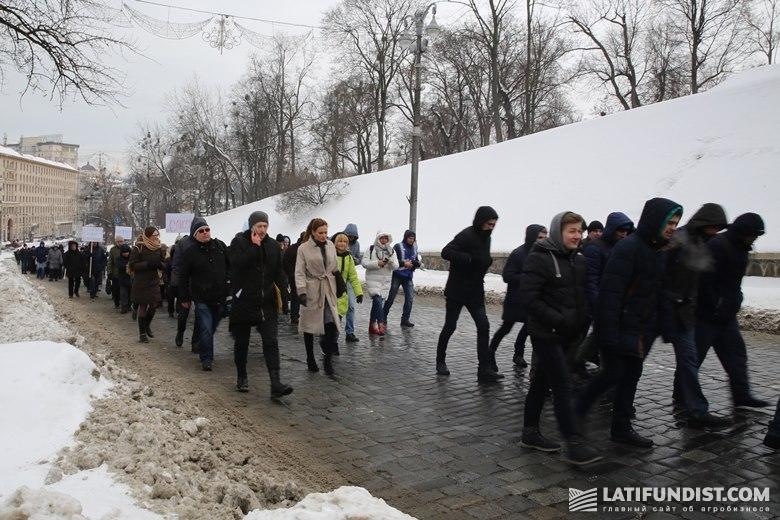 Протестующие идут к к зданию Кабмина