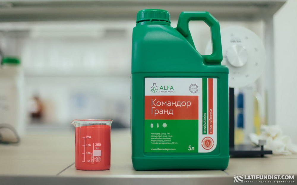 Командор Гранд®, ТН — инсектицидный протравитель с расширенным спектром действия. Действующие вещества: имидаклоприд, 500 г/л + альфа-циперметрин, 50 г/л