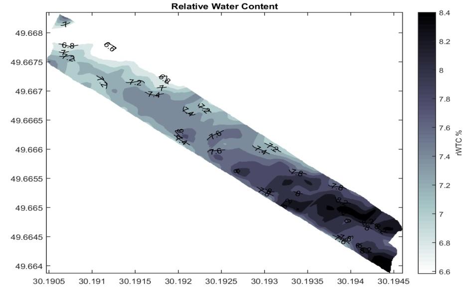 Карта относительной влагоемкости участка №1