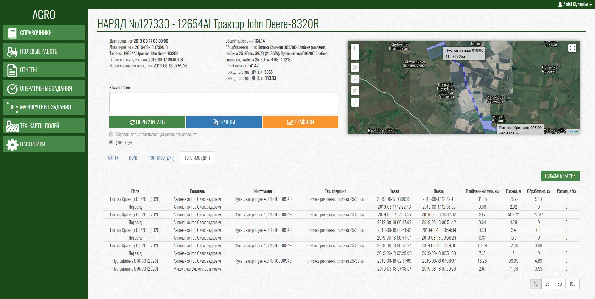 Пример модуля GPS-мониторинга