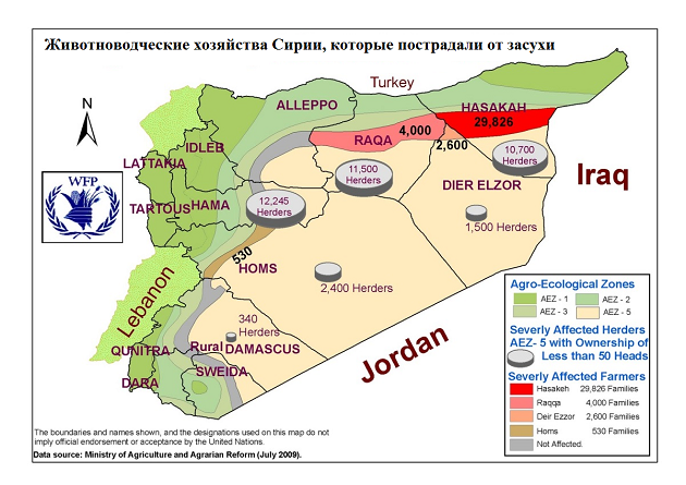 Карта животноводческих хозяйств Сирии, пострадавших от засухи