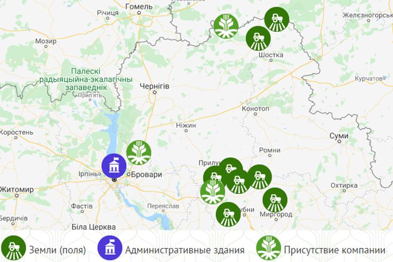 Предприятия A.G.R. Group на карте Украины